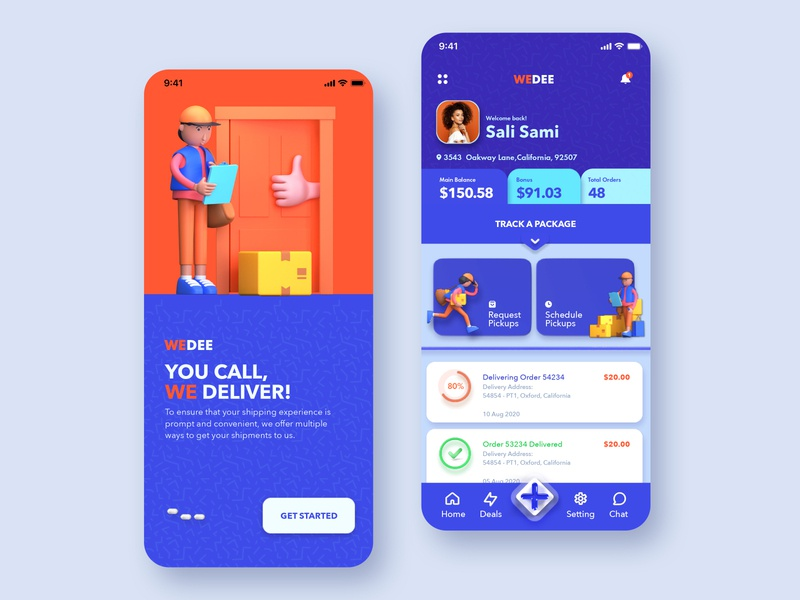 WEDEE app ui concept exploration with 3d characters 3d illustration 3d delivery man app logestic pickup truck delivery app mobile app design ios ux ui design ui  ux ui 3d ui 3d character 3d modeling