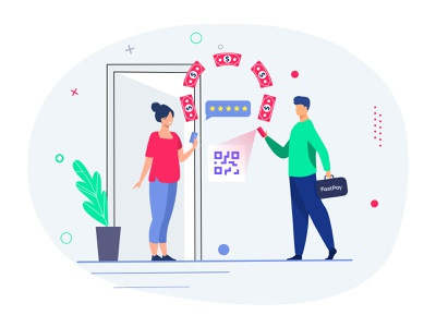 FastPay Request Agent to Home illustration wallet ui wallet illustration charater design character scanner scan qr codes agent bank app digital banking wallet payments vector qr code money transfer money app deposit payment illustration digital illustration design illustration
