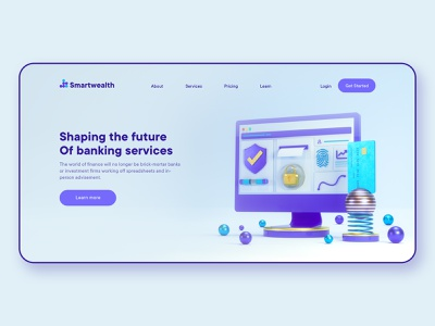 Smartwealth 3D landing page finance icons webdesign 3d animation 3d website 3d illustrator illustration web template design web design website payment credit card 3d modeling web ui uidesign ui ux banking bank finance landing page web