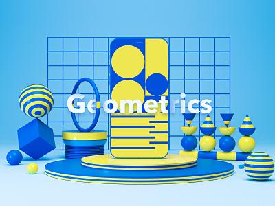 Geometric 3D illustration with mobile flat UI abstract design abstract art abstract mobile app 3dsmax 3d modelling octane c4d uxui uiux 3d icon 3d ui 3d animation 3d art 3d geometric design geometry ui illustration branding