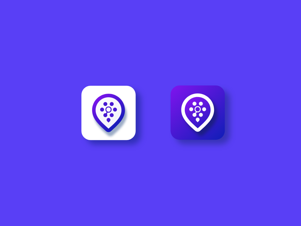 Service listing icon purple blue icon app branding logo a day ui set business directory service finder business listing service listing pin location icon ios app icon logo