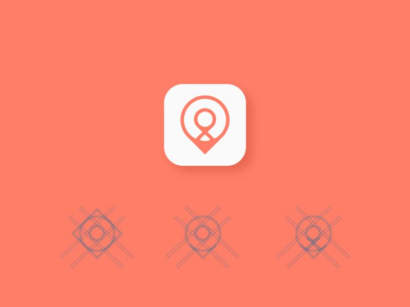 Location pin app icon design web breast cancer directory listing location pin location app location geometric app ios icon icon app logo a day ui design logo branding app icon design inspiration