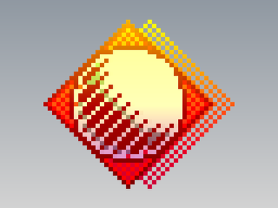 Sun Tile shadow retro bright yellow gray orange geoworks gradient 3d moon sun pixel