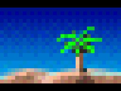 Tropical Palm retro sand gray nextstep sky green blue island beach pixel palm tree tropical