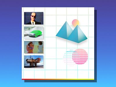 Neon Disc pop art purple white blue shadows collage cd gradient grid retro 80s 3d