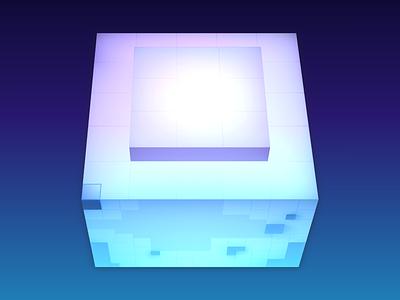 Optimum Angle square rectangle shadows pink purple blue paint 3d light cube 3d gradient