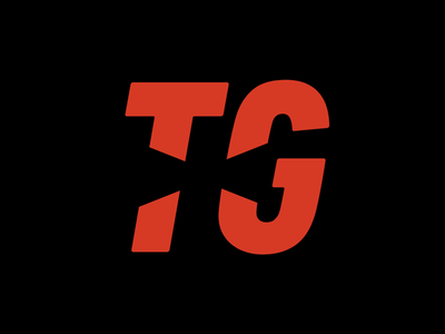 TG modern italic angular black red logo text
