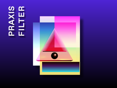 Praxis Filter text purple 2d retro gradient