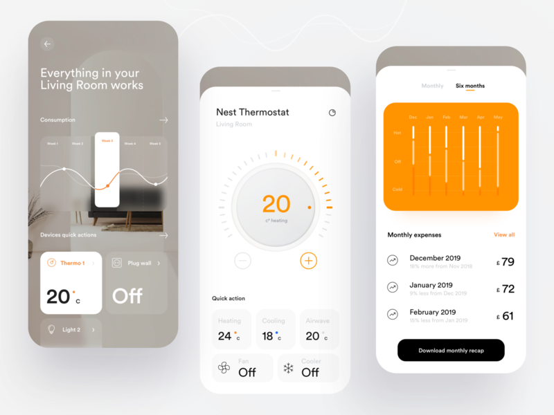 Smart Home app consumption thermostat chart smarthome home minimal dashboard design app ux ui