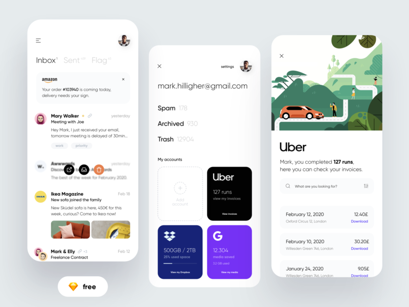 FREE - Email Buddy APP freebie free ui kit cards schedule assistant email card dribbble illustration minimal ios dashboard design app ux ui