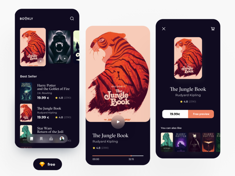 FREE - Ebooks APP read book card flat illustration minimal dribbble freebie free dark mode dark ui dashboard ux design app ui