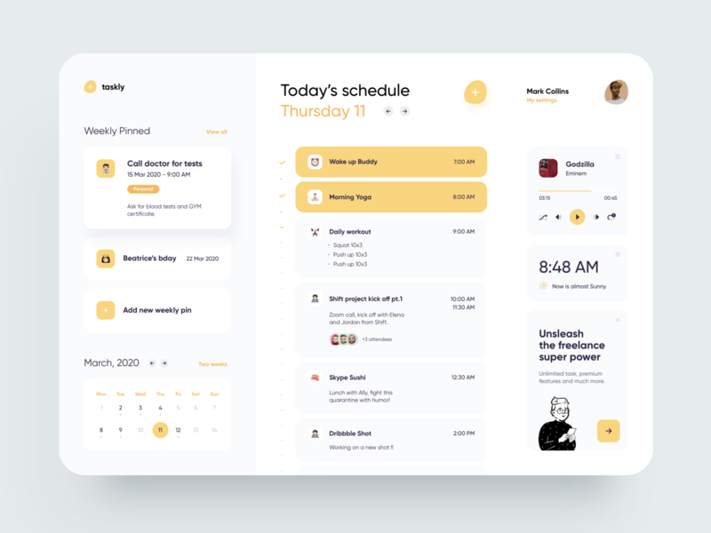 FREE - Freelancer Schedule Web freebie free clean web app to do app to do task schedule app schedule concept dribbble creative illustration minimal dashboard design app ux ui