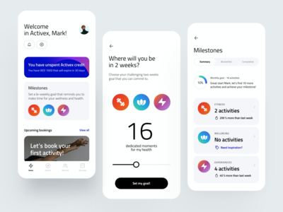 Activities Milestones APP experience fitness activities trend clean goals achievement milestone card dribbble color minimal ios dashboard design app ux ui