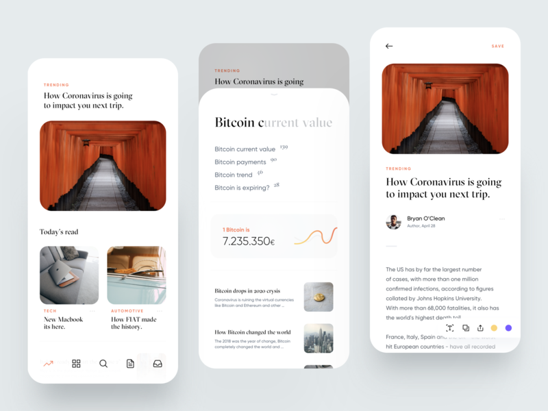 Newspaper App 2020 trend feed news card clean ui clean white magazine newspaper concept creative dribbble minimal ios dashboard design app ux ui