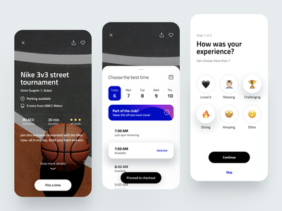 Sport Booking App booking experience activity feedback 2020 trend review sports design fitness sport card dribbble color minimal ios dashboard ux design app ui