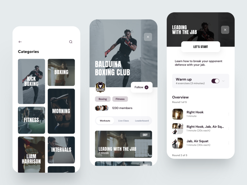 Fitness Boxing App fitness app training sport activity leaderboard tracking boxing fitness creative dribbble minimal ios dashboard design app ux ui