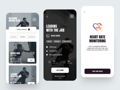 Boxing App pairing trending tracking monitoring cardio fitness app fitness dribbble minimal ios dashboard ux design app ui