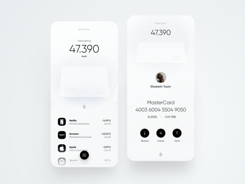 Nobank Mobile App white dribbble trend neumorph bank cards card creative minimal ios dashboard ux design app ui