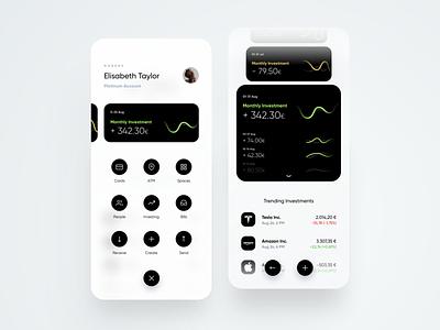 Nobank menu overlay trend chart navigation menu card banking bank dribbble minimal ios dashboard ux design app ui