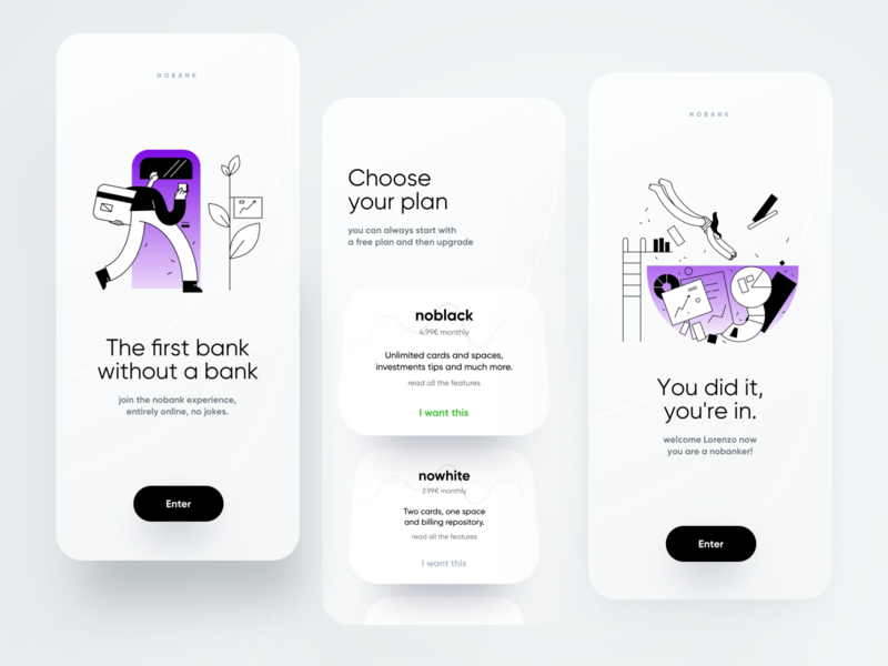 nobank intro trend registration onboarding intro illustration dribbble minimal ios dashboard ux design app ui