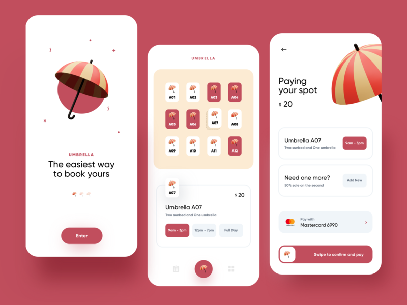 Umbrella onboarding pay payment booking renting creative color illustration dribbble minimal ios dashboard ux design app ui