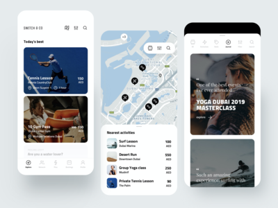 Switch App activity search cards sport fitness map creative dribbble minimal ios dashboard ux design app ui