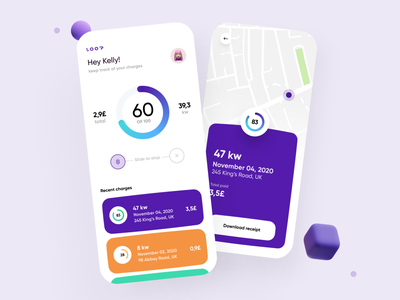 Loop App charges taxi uber 2020 trend cards chart color creative dribbble minimal ios dashboard ux design app ui