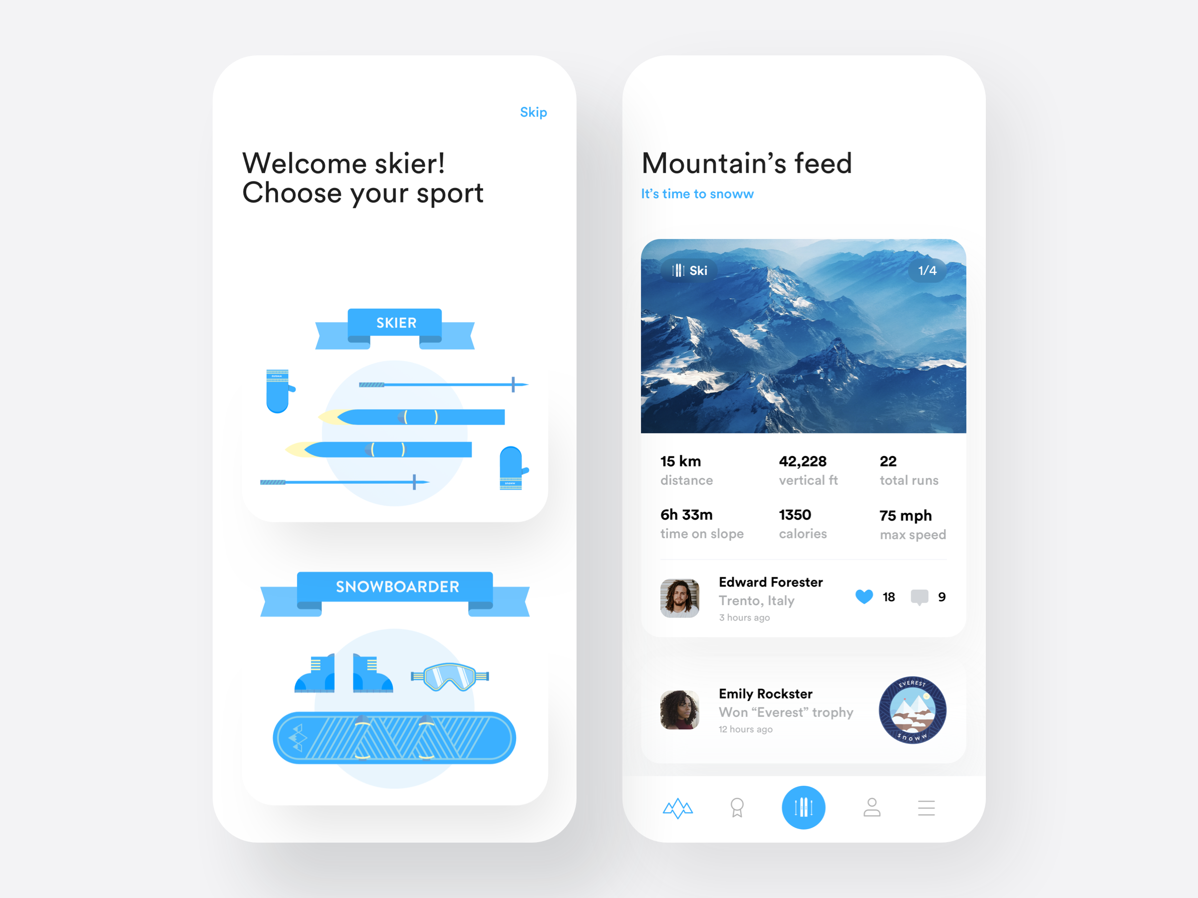Mountain tracking app