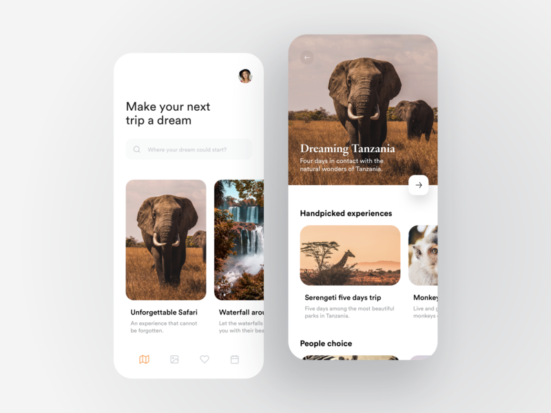 Travel App dashboard traveling animal dribbble graphic ios flat card travel app minimal travel booking creative app design ux ui