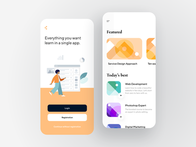 Learning App color card onboarding login intro broadcast minimal lesson flat dashboard creative illustration design app ux ui