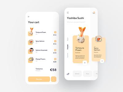 Sushi restaurant app dashboard illustration delivery food card minimal flat dribbble app design ux ui