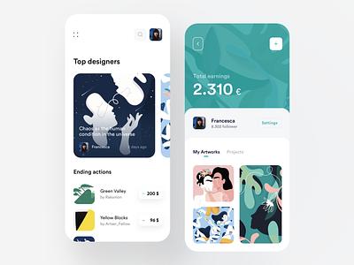 Art Selling App material dashboard seller minimal flat illustration design app ux ui