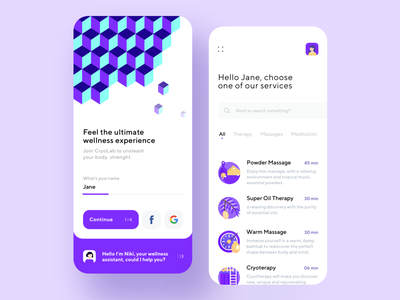 Wellness App mobile dribbble interface color bot branding material minimal illustration ios dashboard design app ux ui