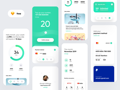Holio Telco App (Free Sketch) sketch free freebie kit dribbble top up telco bank card concept material flat color creative dashboard ios design app ux ui