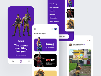 Twitch Redesign App cards gaming game redesign flat minimal illustration creative color dashboard ios design app ux ui