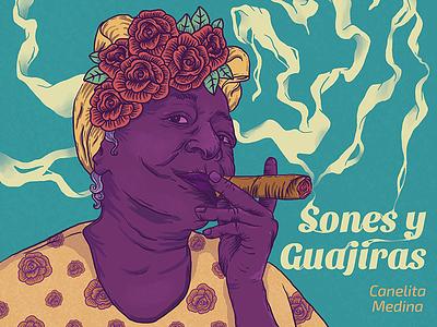 Guajira smoke tabacco texture behance waco cover cover art disco photoshop cuba rosas tabaco portrait caribbean music lp salsa illustration
