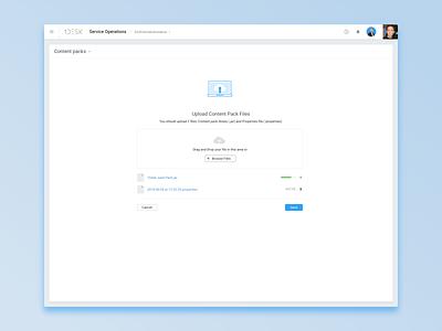 Content Packs files uploads upload interface ui