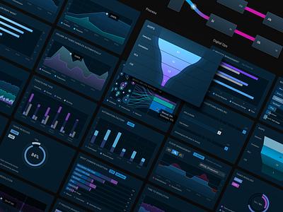 Dashboard Widgets [Dark Mode] bars bar chart widgets widget dashboard ui dashboad design interface ui