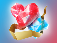 2 Crystal Hearts