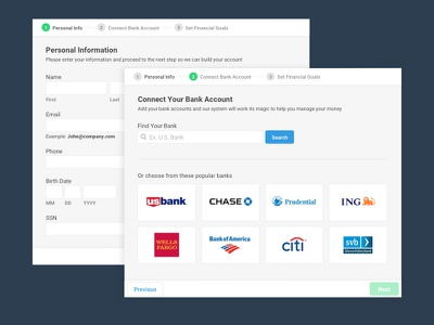 Personal Finance Application On-boarding application finance form wizard