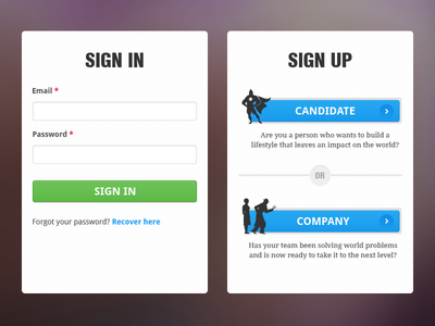Sign in, Sign up page UI elements