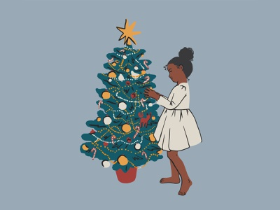 Girl and Christmass tree procreate holiday cute black blu african american vectordesign vector girl christmassxmass christmass tree design illustration