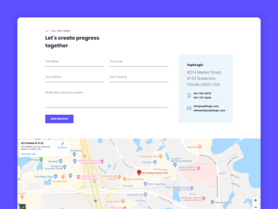 Sophlogic Contact Us Page visual design userinterface map address getting started get started contact page landing page web ux website interface clean ui design contact us form get in touch contact form contact