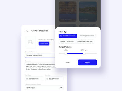 Screen for search filters and create a discussion visual bottomsheet app app design user experience userinterface form add new discussions create new range slider fliter visual design minimal mobile ux interface clean ui design