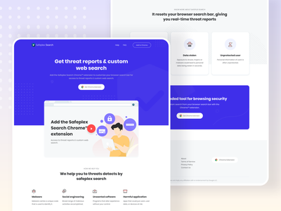 Landing page design for Safeplex Search Chrome Extension user experience userinterface uiuxdesign uidesign extension search result search chrome chrome extension visual design minimal landing page illustration ux website web interface ui clean design