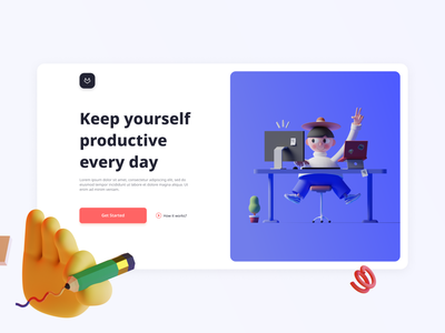 Keep yourself productive every day website design hero image hero firstfold header webdesign uiux trend 3d illustration 3d visual design landing page illustration website web ux ui interface clean design