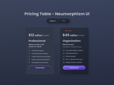 Neumorphism UI style exploration for the pricing plan price table pricing page userinterface components elements neumorphic design light ui dark ui neumorphism ui neumorphism neumorphic pricing table pricing plan website web ux interface ui clean design