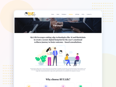 RYT.life - Partners page join us why choose uidesign mental wellness mental health well being partner partners branding illustration website web ui ux interface clean design landing page animation