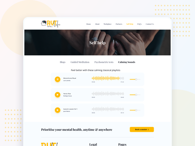 RYT.life - Self Help page health care therapy player mental wellness mental health selfcare self help calm music audio mental branding illustration website web ux ui interface clean design