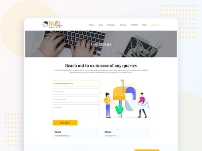 RYT.life - Contact page visual design mental wellness webdesign userinterface health care wellness being contact contact us mental health logo illustration website ux ui interface clean design graphic design branding